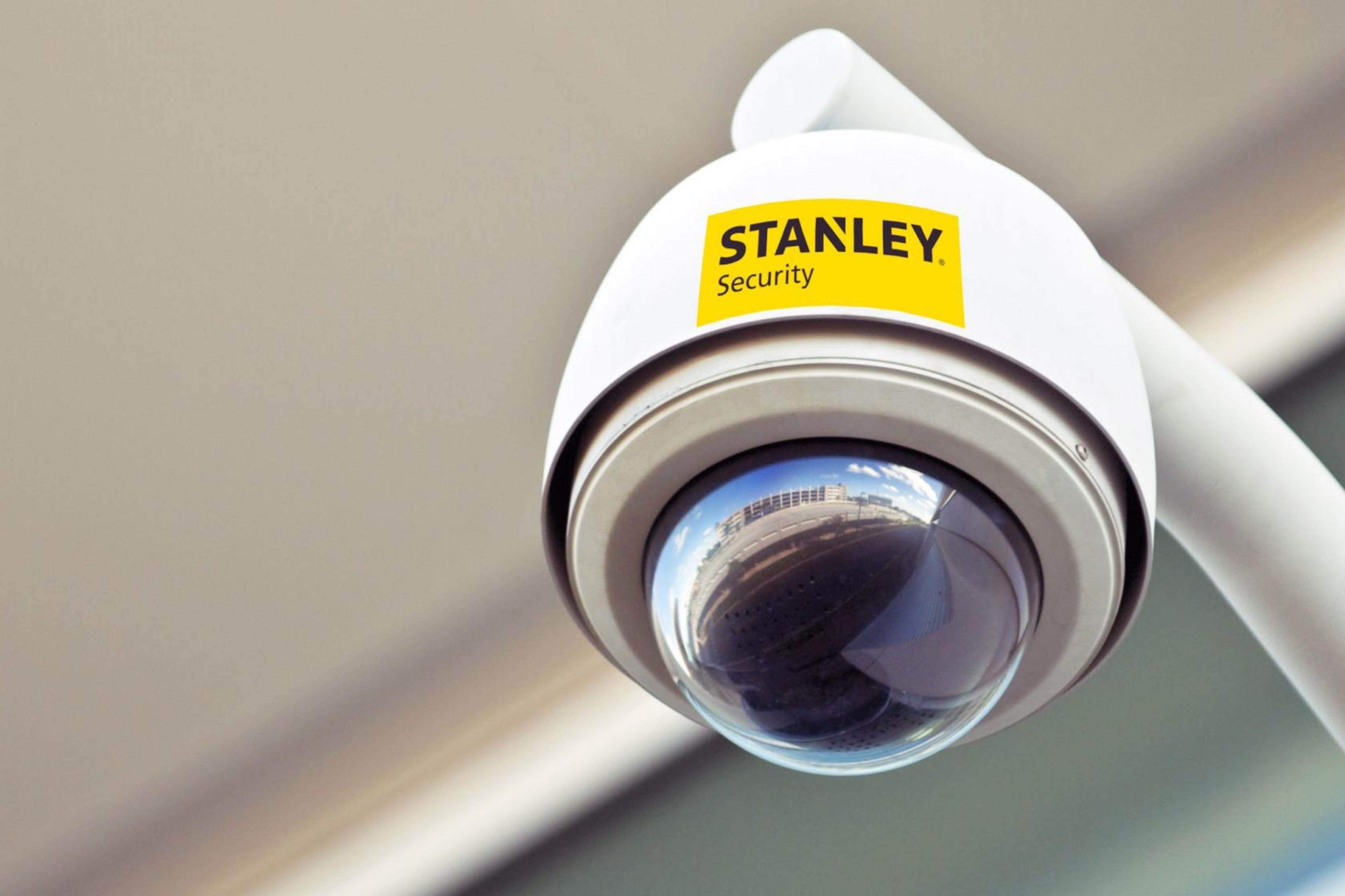 Close up of Stanley Security dome camera