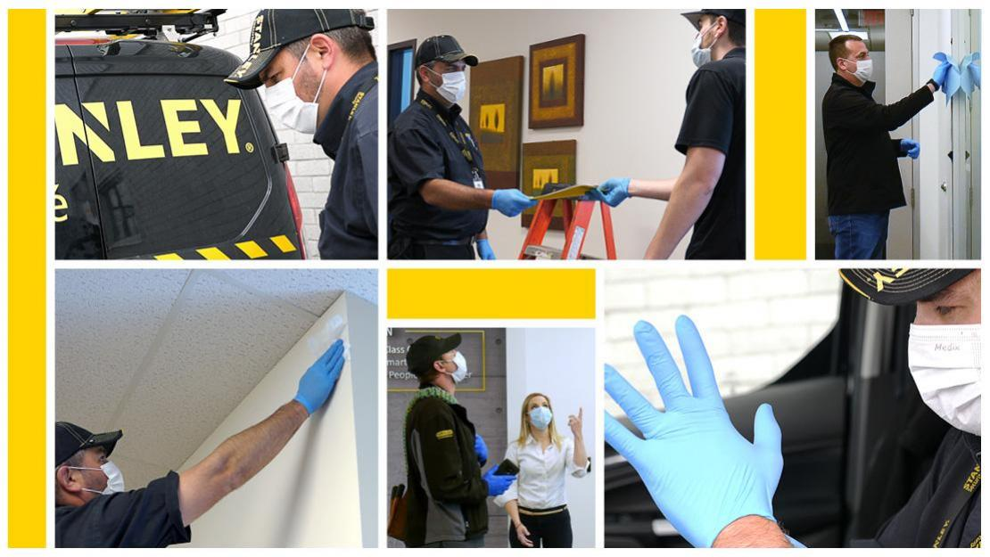 Collage of STANLEY Security employees in gloves and masks