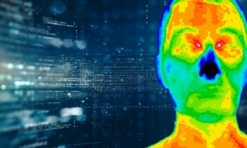 Heatmap of person in front of stylized code